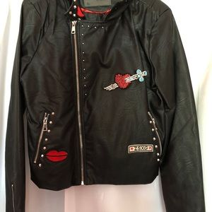 Jackets & Blazers - Embroidered faux leather biker jacket